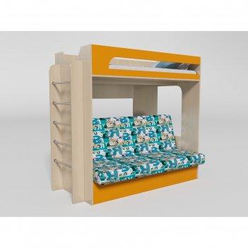 Кровать 2х ярусная № 9 2056х930х1800 дуб молочный/манго