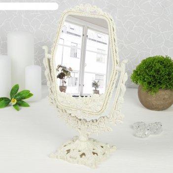 Зеркало настольное «ажур. цветы», с увеличением, зеркальная поверхность —