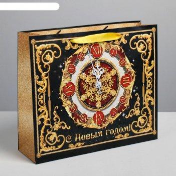 Пакет подарочный ламинированный горизонтальный «новогодние часы», ml 27 x
