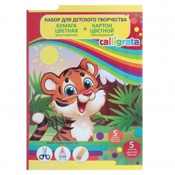 Набор для детского творчества а4, 5 листов картон цветной немелованный + 5