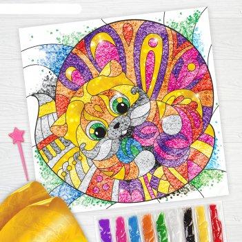 Фреска песком кот + 9 цветов песка по 4 гр, блёстки, стека
