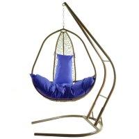 Подвесное кресло на стойке корфу, коричневое/синяя