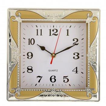 Часы настенные, серия: классика, розаулин, хром, 24х24 см, микс