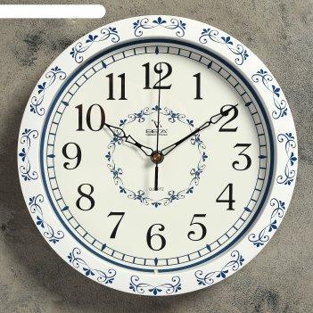 Часы настенные круглые голубые мотивы, белые с узором