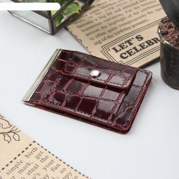 Зажим для купюр, с металлическим держателем, отдел для монет на кнопке, цв