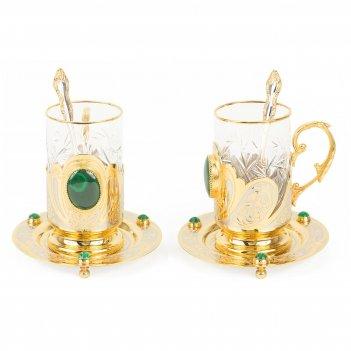 Чайный набор малахитовый двойной позолота