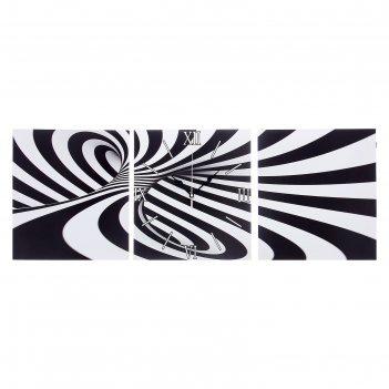 Часы настенные модульные «чёрно-белая абстракция», 35 x 110 см