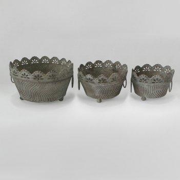 Кашпо напольное, набор из 3-х,  для цветов  декоративное,  белая патина