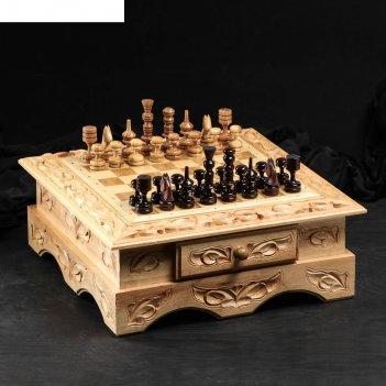 Шахматы деревянные резные с фигурками, лакированные, 47 х 52 х 20 см