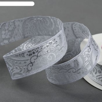 Лента декоративная «жаккард», 25 мм, 9 ± 1 м, цвет серебряный