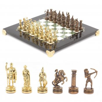 Шахматы лучники доска 280х280 мм мрамор офиокальцит металл