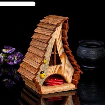 Чайный домик деревенский, 17*14*23см; материал: дуб, сосна; покрытие: аква