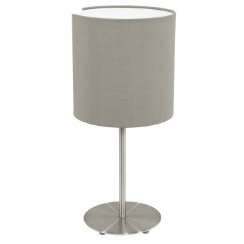 Настольная лампа pasteri 1x60вт e27 никель, бежевый 18x18x40см