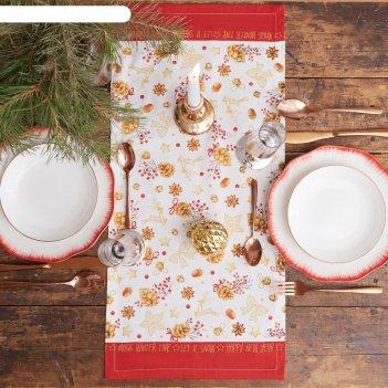 Дорожка на стол этель golden christmas 30х70 см, 100% хл, саржа 190 гр/м2