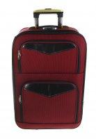 Чемодан большой классик, 2 отдела, 3 наружных кармана, цвет бордовый