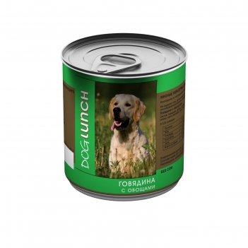 Консервы дог ланч для собак, говядина с овощами, 750 г.