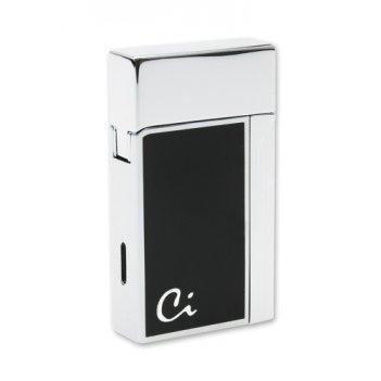 Ca1602 зажигалка caseti газовая турбо, хром  черный лак case