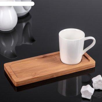 Чашка кофейная 90 мл эстет на бамбуковой подставке
