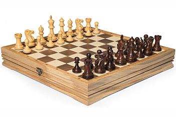 Шахматы средние, самшит, полисандр, король 8,2см, утяжеленные 37х37см