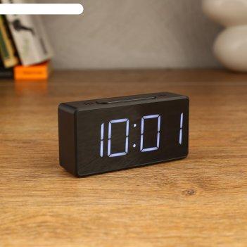 Часы-будильник электронные, с термометром, белые  цифры, 10х5 см