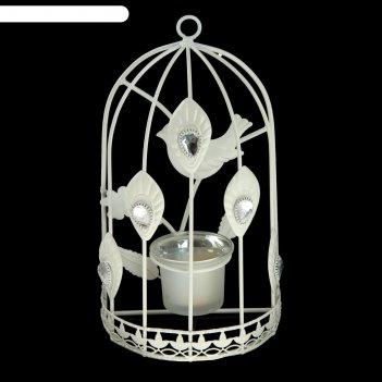 Подсвечник настенный металл 1 свеча клетка с птицей с павлиньим глазом 22,