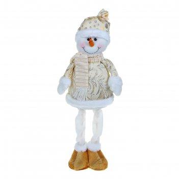 Мягкая игрушка снеговик на ножках (золотая узорная шубка)