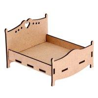 Мебель кукольная из мдф кровать 11,5х10х8см