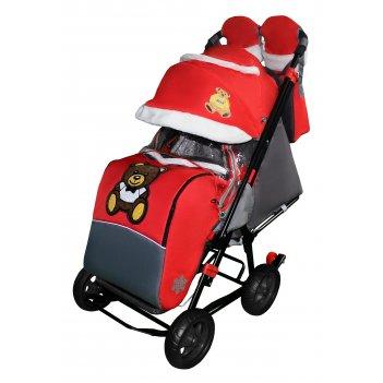Санки-коляска snow galaxy city-1 мишка с бабочкой на красном на больших ко