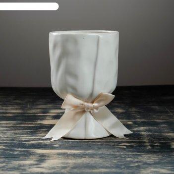 Кашпо керамическое бокал белый 11*11*16 см