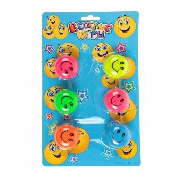 Йо-йо веселые смайлики, (набор 6 шт) цвета микс