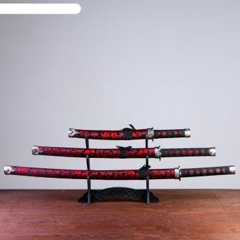 Катаны сувенирные 3в1 на подставке, черные ножны, красные узоры с драконом