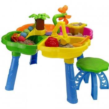 01-121 набор для песка kinderway стол, стул, ведерко, сито, лопатка, грабл
