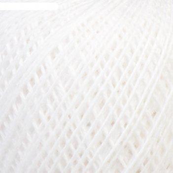 Нитки вязальные флокс 150м/25гр 100% хлопок немерсеризованный цвет 0101
