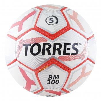 Мяч футбольный torres bm 300, размер 5, tpu, машинная сшивка