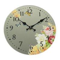 Часы настенные круг серия есения бабочки и цветы на зеркале d=30см
