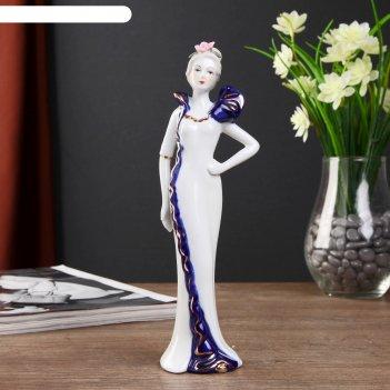 Сувенир керамика леди катрин в платье с бантом на плече 22х7х5 см