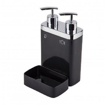 Дозатор для жидкого мыла с секцией для губки viva, цвет черный