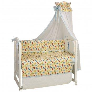 Комплект в кроватку «собачки», 6 предметов, цвет бирюзовый