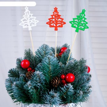 Топпер ёлка со звездой разноцветный (красный, белый, зелёный), микс