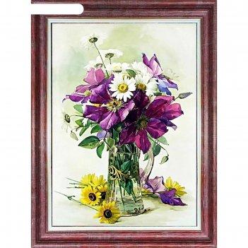 Ткань для вышивки лентами «полевые цветы»