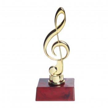 Кубок скрипичный ключ,красная пластиковая подставка14,8 х 6,2 х 6,2 см