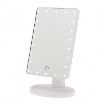 Зеркало с подсветкой, от батареек 4*аа, 22 диода, сенсорная кнопка, белое