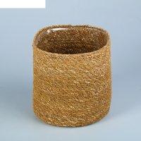 Кашпо флористическое с пластиковой вставкой, искусственный, 16х16 см