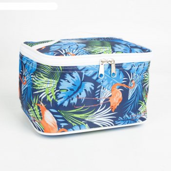 Косметичка-сундучок, отдел на молнии, цвет синий, «тропики»