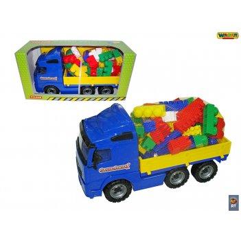 9739 автомобиль бортовой+конструктор супер-микс 60 элементов (в коробке) w