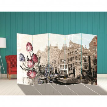 Ширма тюльпаны. декор 1 250 x 160 см