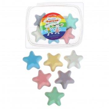Мелки цветные 6 шт. 6 цветов «фантазия» в форме звездочки, пластиковый кон