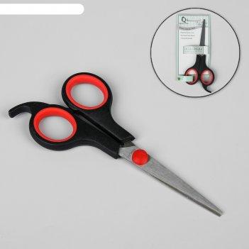 Ножницы парикмахерские с упором, лезвие — 5 см, цвет чёрный/красный