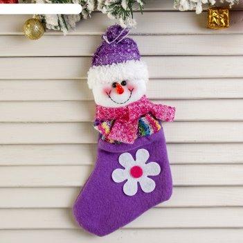 Носок для подарка снеговик с ромашкой