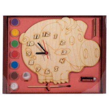 Часы с циферблатом под роспись поросёнок с красками